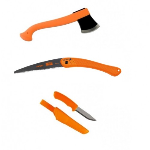 CBS1 Set topor, fierastrau si cutit bushcraft orange Morakniv/Bahco
